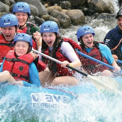 experience the excitement and adrenaline of the white water rafitng with this family tour